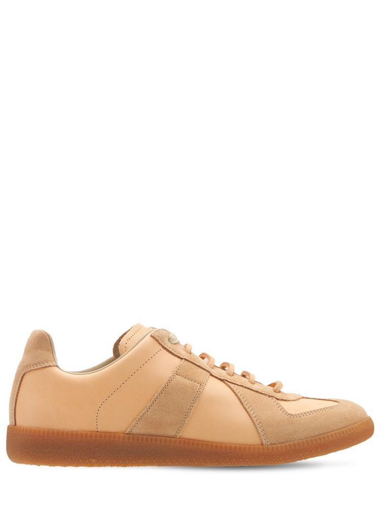 MAISON MARGIELA 20mm Replica Leather & Suede Sneakers in beige