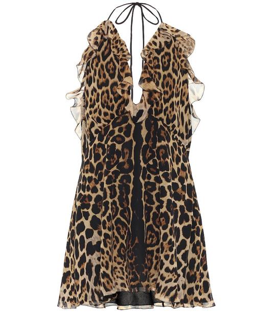 Saint Laurent Leopard-print silk minidress in brown