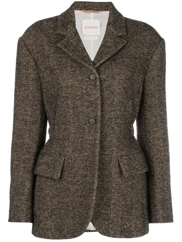 Zanini fitted herringbone blazer in brown