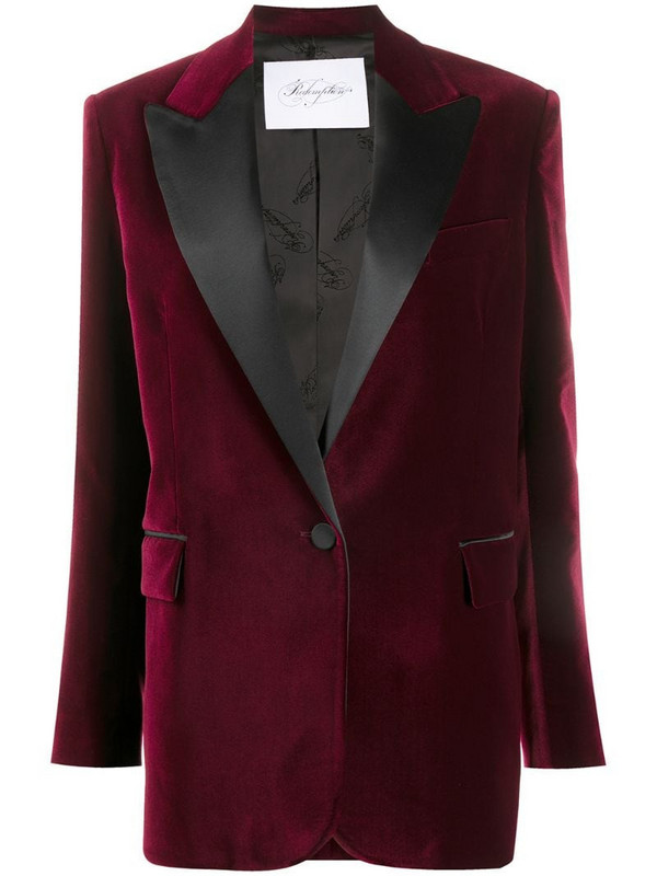 Redemption contrast-lapel fitted jacket in red
