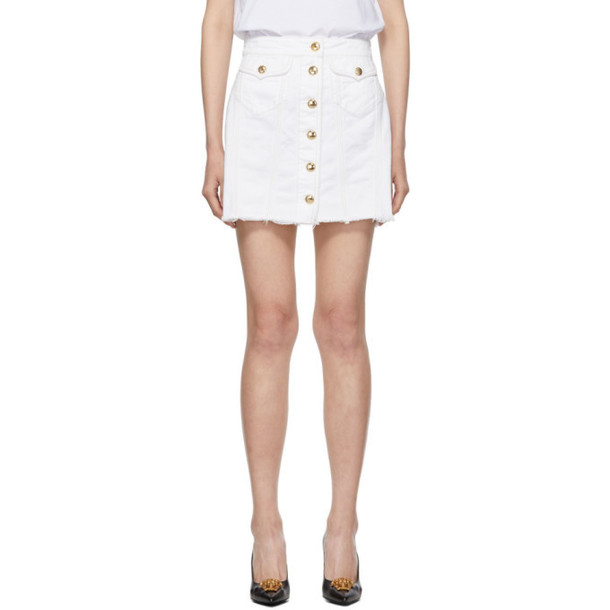 Versace Jeans Couture White Denim Demo Miniskirt