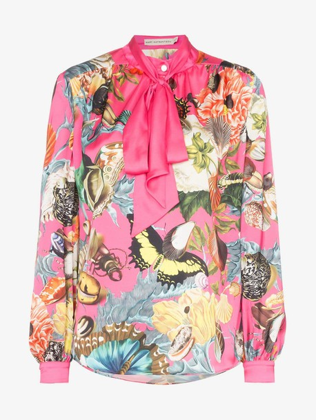 Mary Katrantzou Federika butterfly print tie-neck blouse