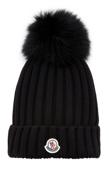 Moncler Fur-Trimmed Ribbed-Knit Wool Beanie in black