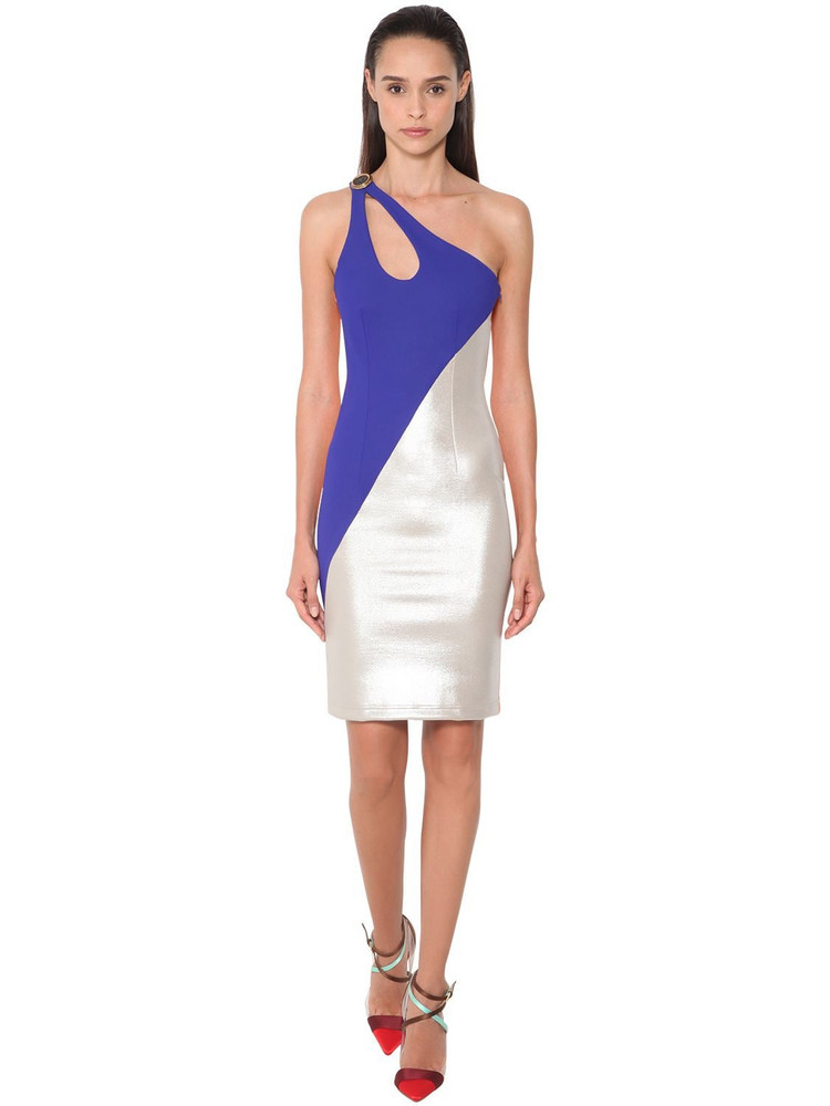 FAUSTO PUGLISI One Shoulder Stretch Jersey Dress in blue / silver