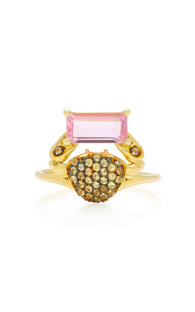 Daniela Villegas Cosquilleo 18K Gold, Tourmaline and Sapphire Ring Siz in pink