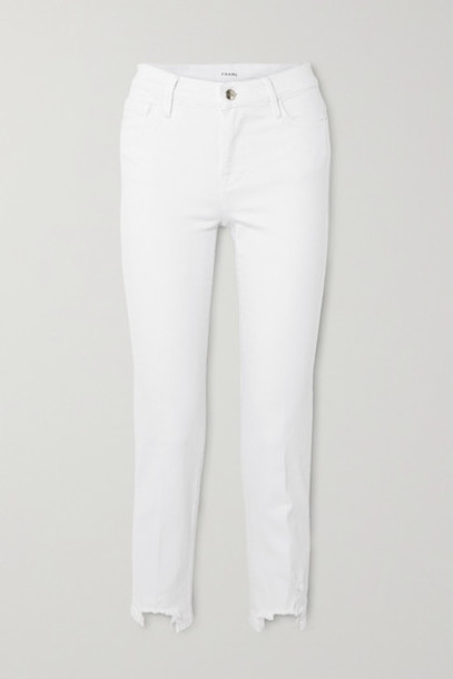 FRAME - Le Nouveau Cropped Distressed Mid-rise Slim-fit Jeans - White