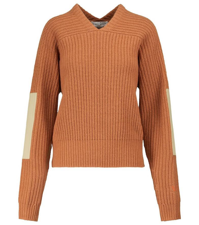 Victoria Beckham V-neck wool sweater in orange