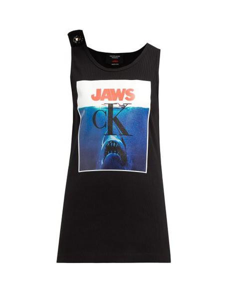 Calvin Klein 205w39nyc - Jaws Print Ribbed Stretch Cotton Tank Top - Womens - Black