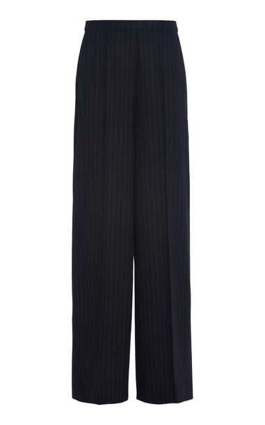 Loulou Studio Sulana Pinstriped Wool Wide-Leg Trousers in black