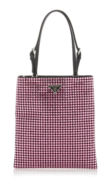 Prada Crystal Mini Bi-Color Crossbody Bag in pink