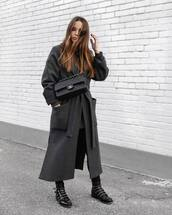 bag,black bag,chanel bag,black boots,black skinny jeans,grey coat,long coat