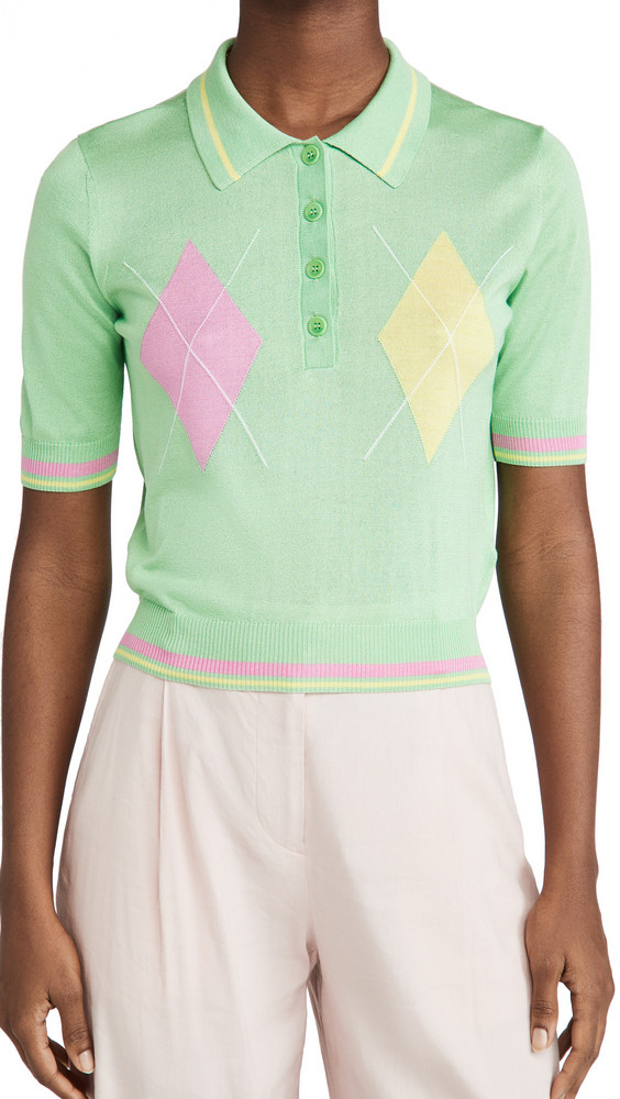 Versace Argyle Short Sleeve Top in mint