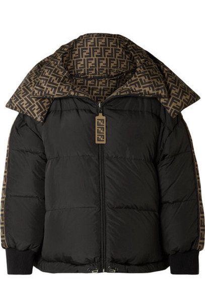 Fendi - Reversible Quilted Printed Shell Down Jacket - Black