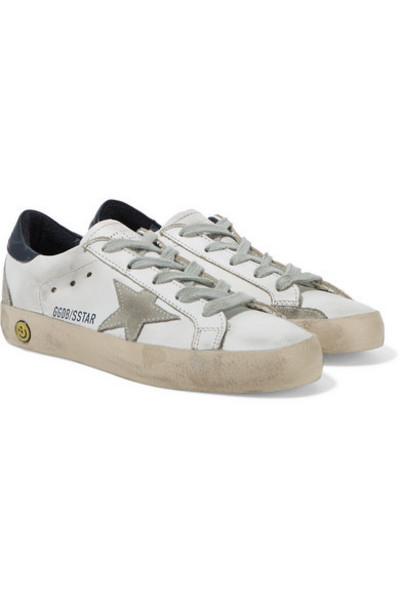 Golden Goose Deluxe Brand Kids - Size 28 - 35 Superstar Distressed Leather And Suede Sneakers in white