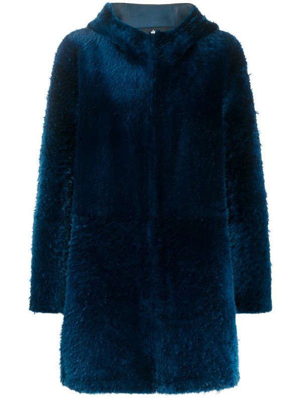 Liska hooded shearling coat in blue