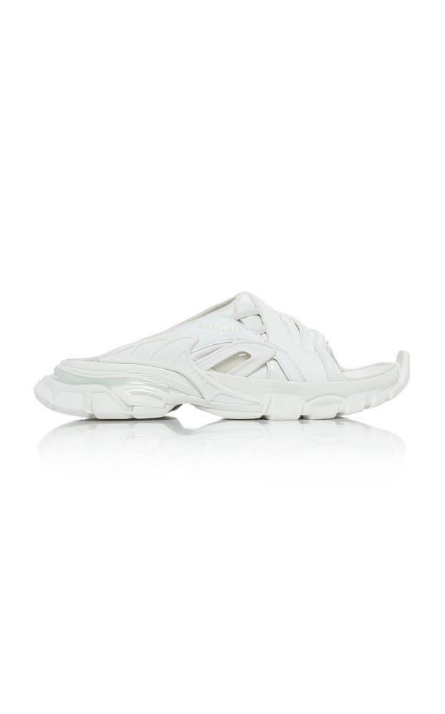 Balenciaga Track Mesh-Inset Rubber And Neoprene Slides in white