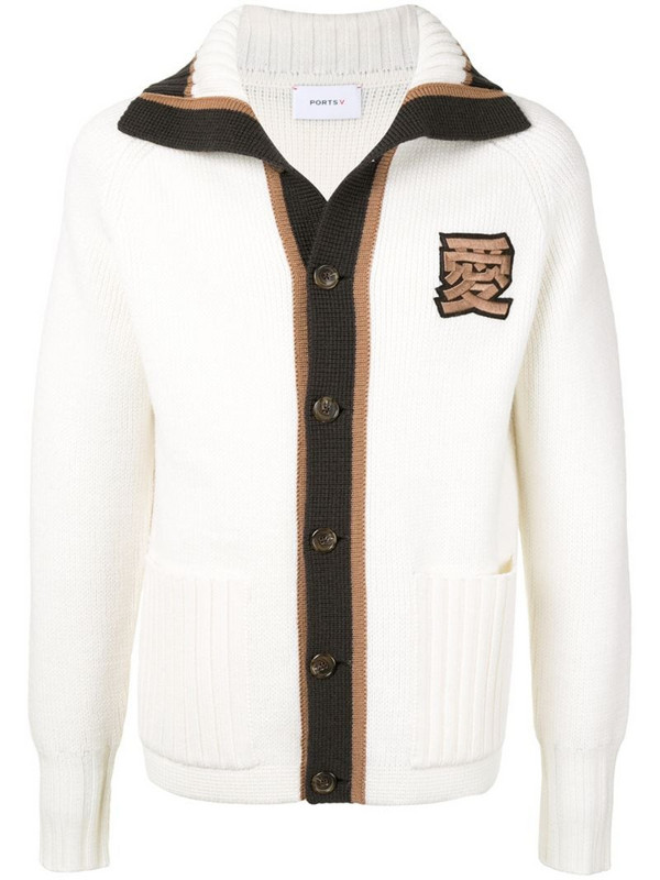 Ports V two-tone buttoned cardigan in white