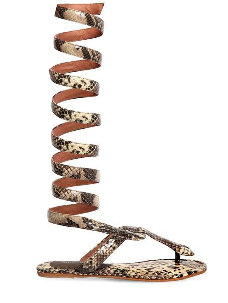 JEFFREY CAMPBELL 10mm Snake Print Leather Sandals in beige / beige