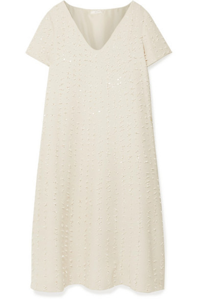 The Row - Mattei Embellished Wool And Silk-blend Crepe Midi Dress - Ivory