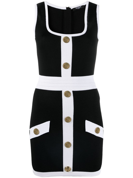 Balmain button-embellished fitted dress in black