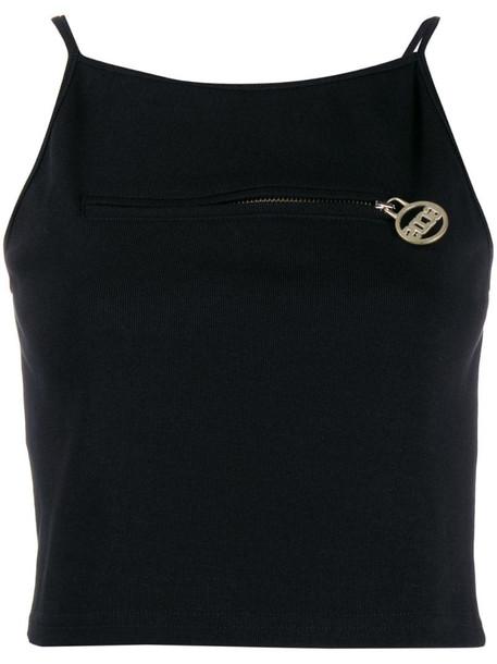 Gcds front zip cropped vest in black