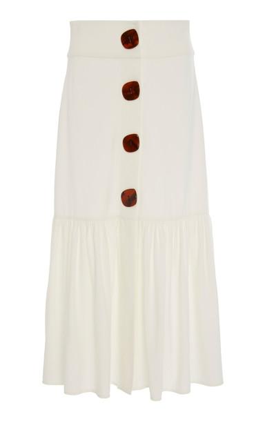 Adriana Degreas Buttoned Poplin Midi Skirt in neutral