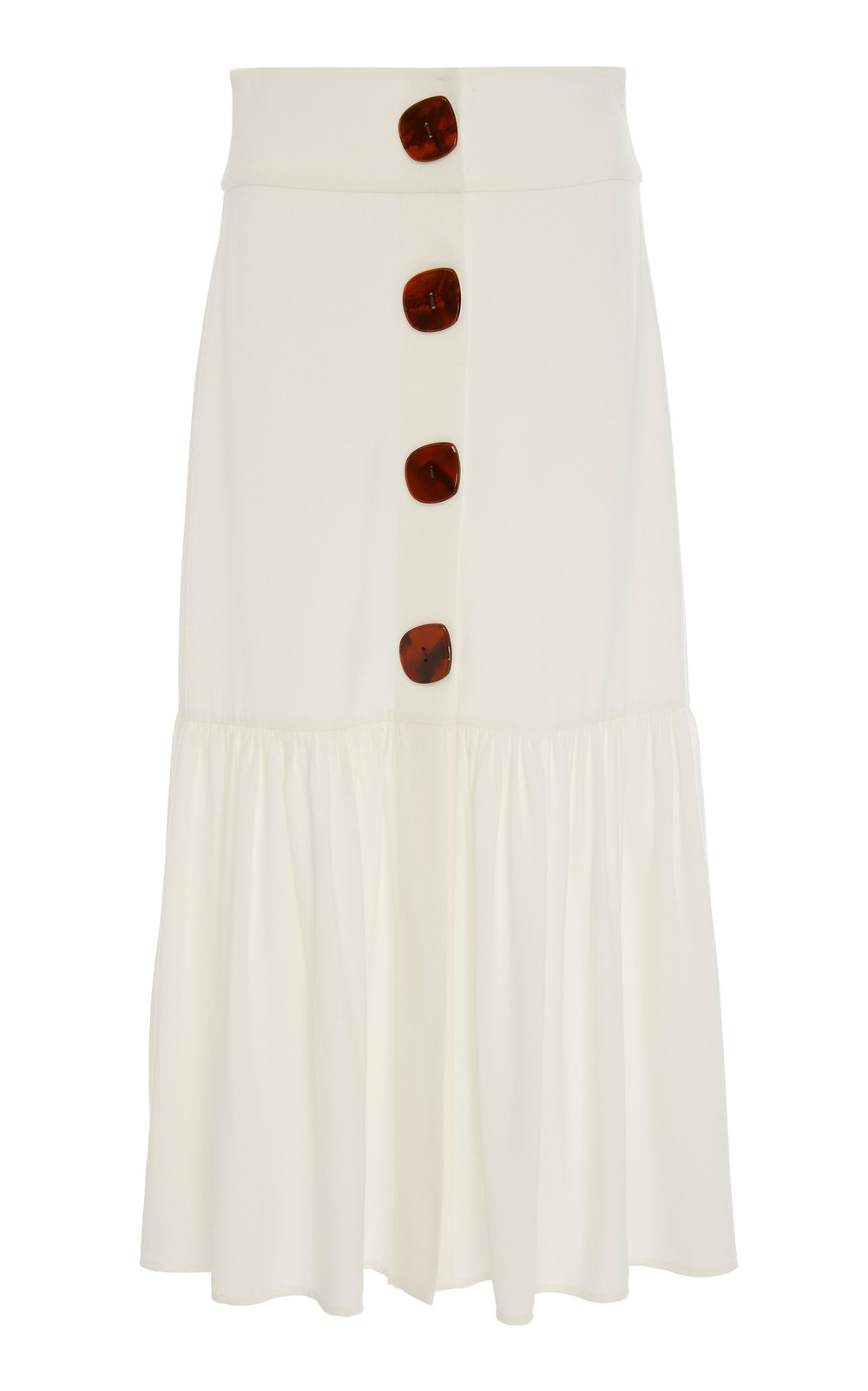 Adriana Degreas Buttoned Poplin Midi Skirt in neutral