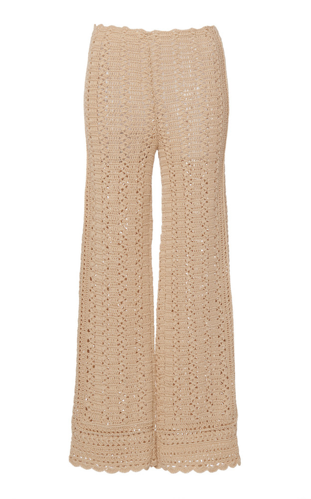 Alberta Ferretti Crochet Cotton Pants in neutral