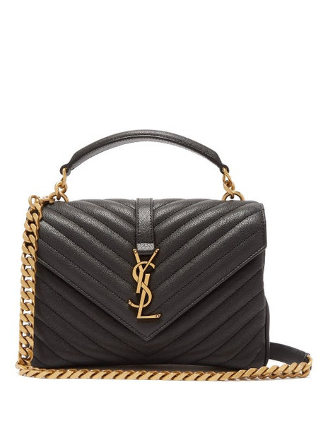 Saint Laurent - College Monogram Quilted Leather Cross-body Bag - Womens - Black