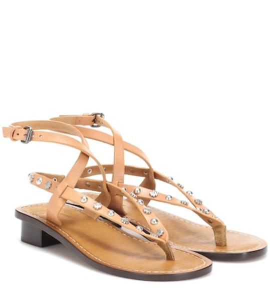 Isabel Marant Jings embellished leather sandals in beige / beige