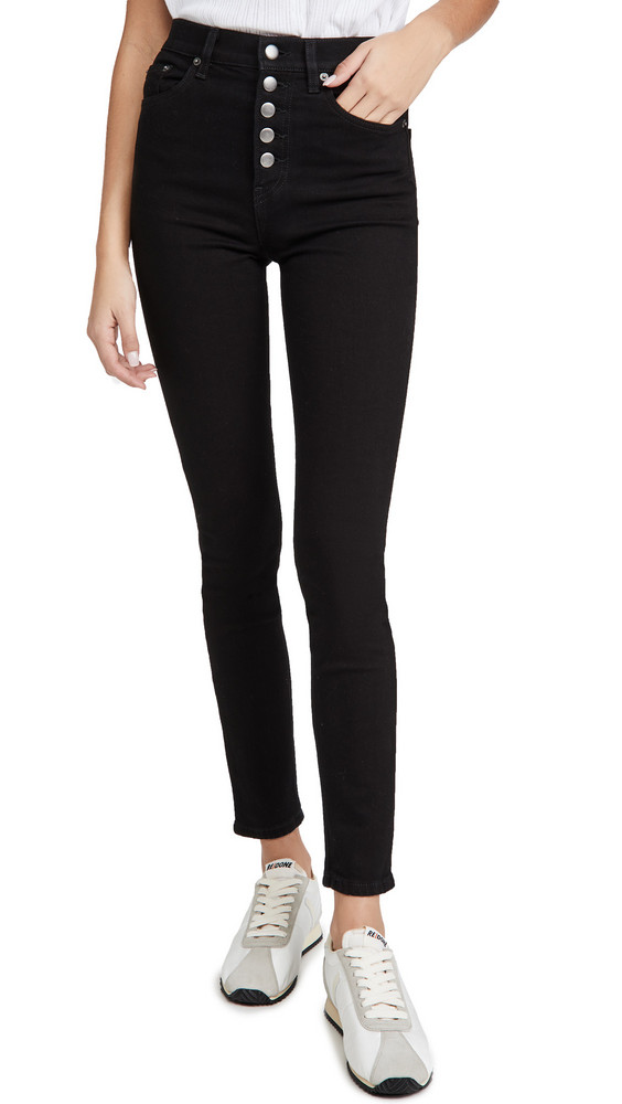 Reformation Harper Button Fly High Rise Skinny Jeans in black