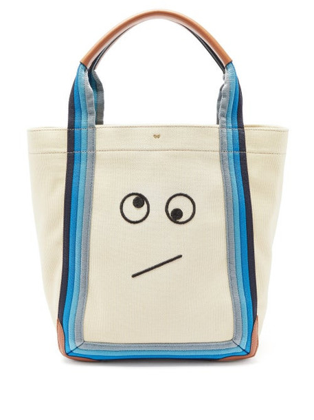 Anya Hindmarch - Amused Face Pont Small Canvas Tote Bag - Womens - Beige Multi