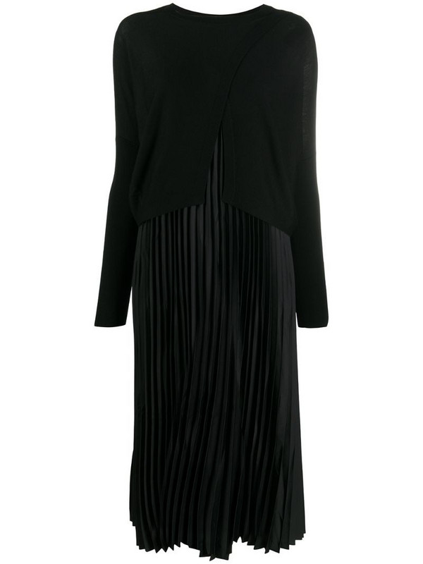AllSaints long-sleeved pleated midi dress in black