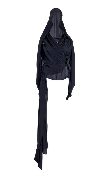 JW Anderson Hooded Crepe de Chine Top Size: 8 in navy