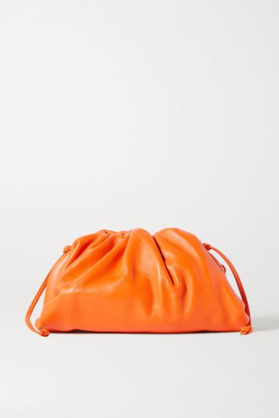 Bottega Veneta - The Pouch Small Gathered Leather Clutch - Orange