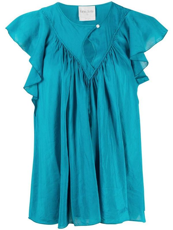 Forte Forte ruffled short-sleeved blouse in blue