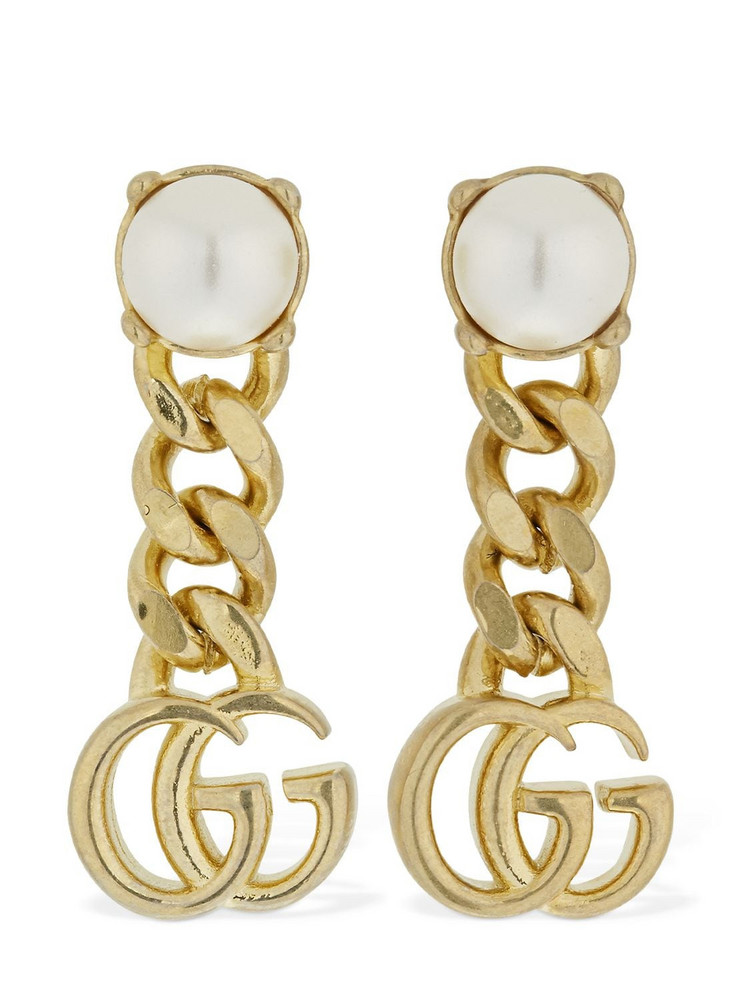GUCCI Gg Marmont Drop Earrings W/ Faux Pearl in gold / white