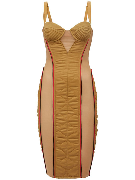 BURBERRY Alanis Quilted Nylon & Cotton Dress in camel