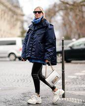 jacket,oversized jacket,white sneakers,white bag,dior bag,shoulder bag,black leggings,blue sweater,turtleneck sweater,oversized sweater