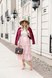 suburban faux-pas,blogger,hat,jacket,skirt,shoes,jewels,sunglasses,midi skirt,louis vuitton bag,red jacket
