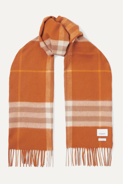 Burberry - Fringed Checked Cashmere Scarf - Orange