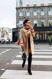 the little magpie,blogger,blouse,jeans,shoes,jacket,bag,fall outfits,thigh high boots,beige coat,beret