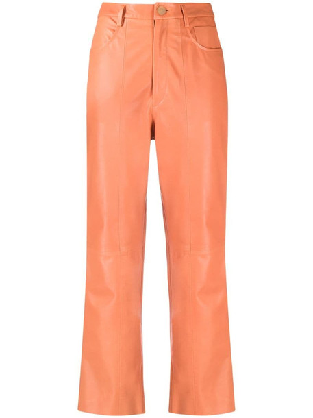 Forte Forte cropped leather trousers in orange
