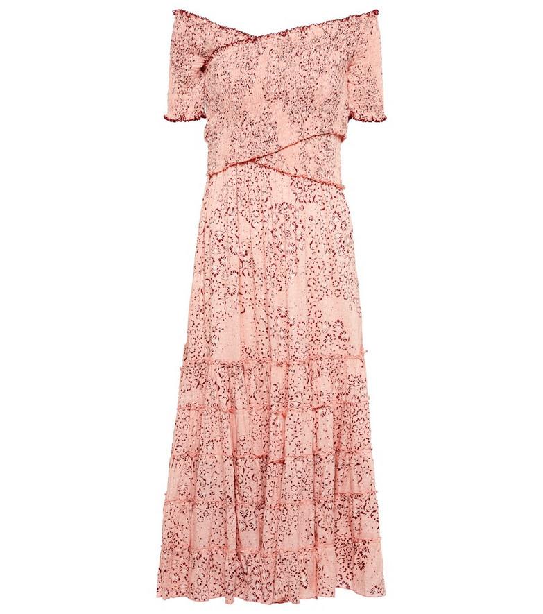 Poupette St Barth Soledad floral midi dress in pink