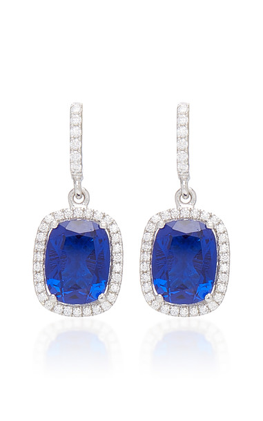 Anabela Chan Comet 18K White Gold And Sapphire Drop Earrings