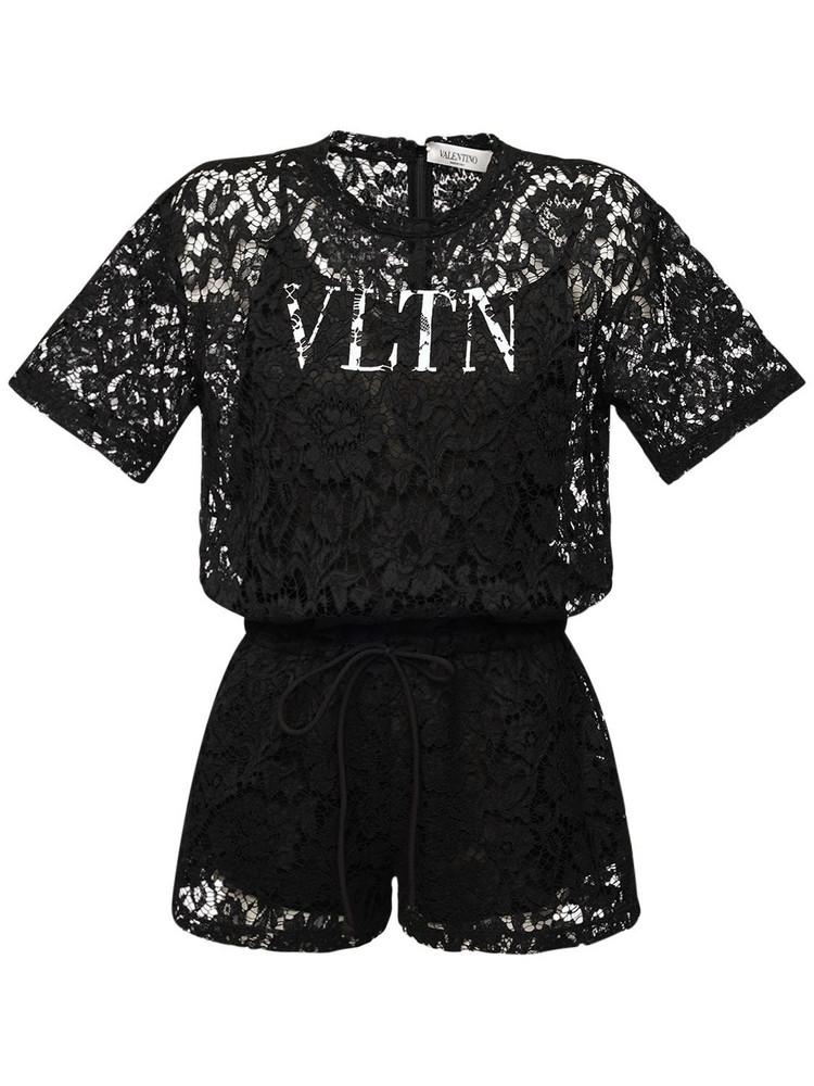 VALENTINO Logo Lace & Jersey Romper in black / white