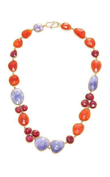 Bahina 18K Gold Tanzanite Ruby and Carnelian Necklace in multi