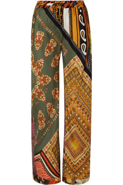 Chloé Chloé - Printed Silk-satin Wide-leg Pants - Orange