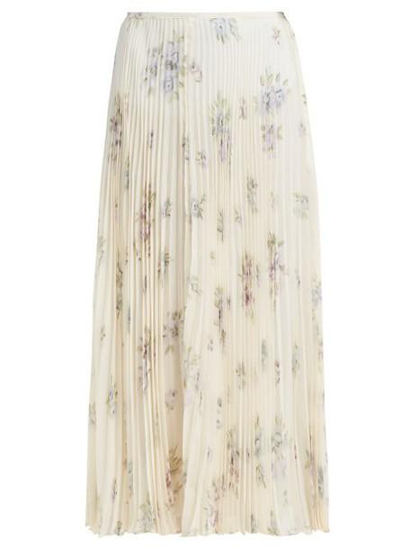 Joseph - Abbot Pleated Floral Print Silk Skirt - Womens - Cream Multi