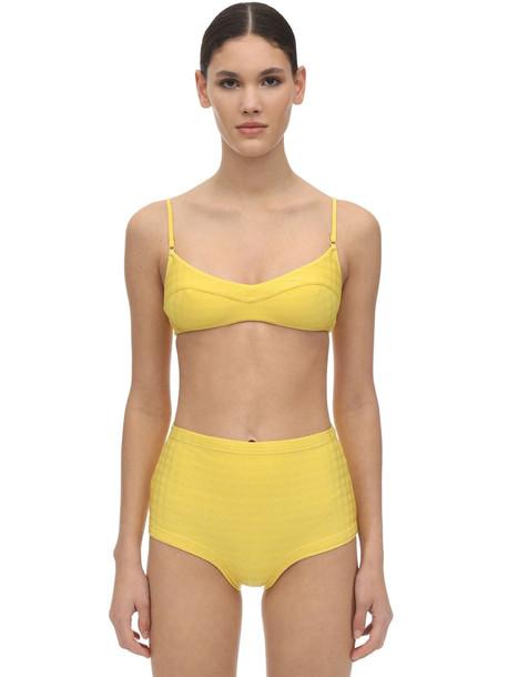 FELLA SWIM Solomon Tile Textured Lycra Bikini Top in yellow